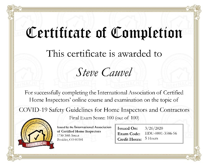 Certification of Completion of COVID-19 Safety Guidelines for Home Inspectors and Contractors awarded to Steve Cauvel of Marquee Home Inspection